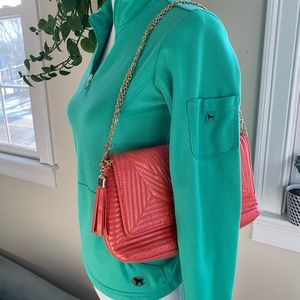 BP Nordstrom Coral Quilted Crossbody w/ Gold Chain